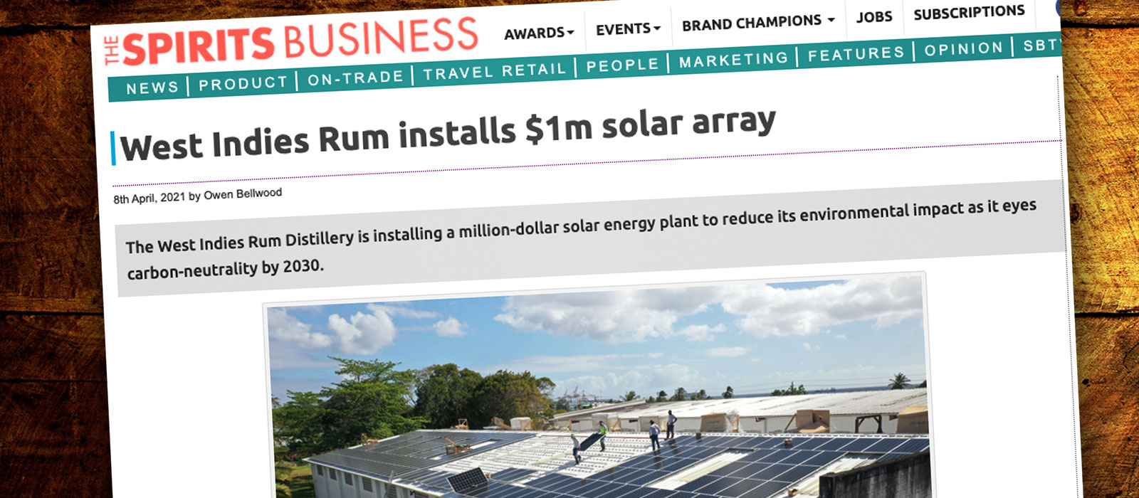 West Indies Rum Distillery installerar solceller